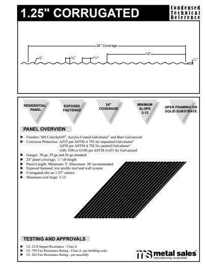 "1.25"" Corrugated Panel CTR"