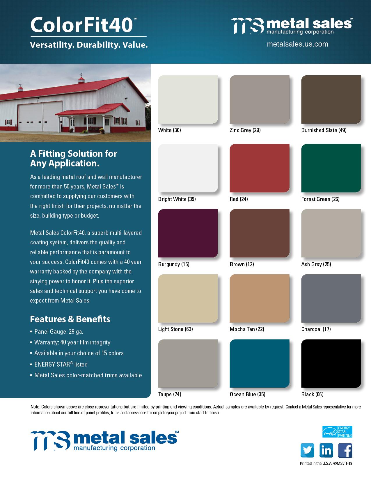 Agricultural Color Charts Metal Sales
